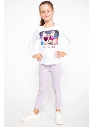 DeFacto Kedi Baskılı Uzun Kollu T-shirt Beyaz